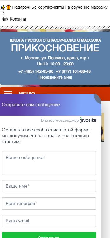 Портфолио 101massage.ru мобильная версия
